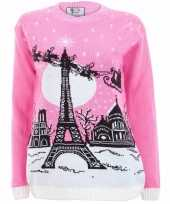 Roze foute kersttrui paris voor dames