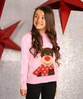 Roze foute kersttrui voor meisjes