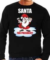 Santa for president foute kersttrui kerst outfit zwart voor heren