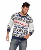 Witte foute kersttrui merry christmas voor volwassenen